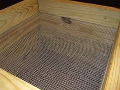 The flow-through wooden worm bin has screens or holes on the bottom of each tray. This leaves the worm castings behind and ready to be harvested.