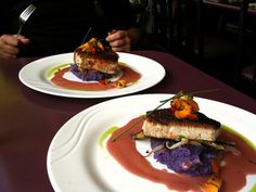 Blackened Ahi on a bed of mashed purple sweet potatoes at Jackie Rey's Ohana Grill.