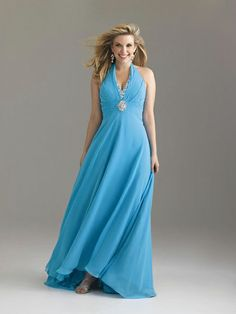 A-line Halter Chiffon Floor-length Sleeveless Crystal Detailing Evening Dresses at dressestylish
