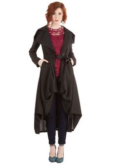 Let's Get Flowing Coat. Youre ready to take on the day as soon as you slip into this black coat! #black #modcloth