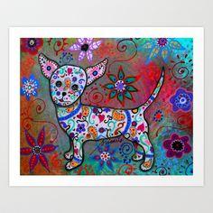 Talavera White Chihuahua Folk Art Painting Art Print by Prisarts - $38.48