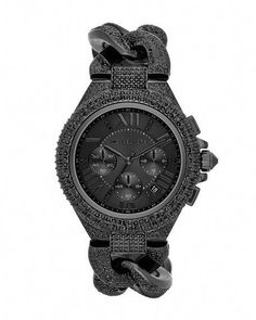 0f4bf99b7cb0 Add it to my wish list  ) Michael Kors Mid-Size Black Stainless Steel  Twisted Camille Three-Hand Glitz Watch.