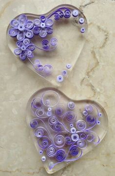 Quilling inside resin hearts. Beautiful!