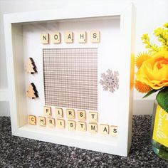 This item is unavailable Scrabble Frame, Wooden Shapes, Hanging Photos, Babies First Christmas, Babys, My Etsy Shop, Check, Gifts, Babies