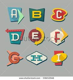 Letters on vintage style signs. Alphabet reminiscent of Retro signs alphabet. Letters on vintage style signs. Alphabet reminiscent of roadside. Retro Kunst, Retro Art, Royalty Free Images, Royalty Free Stock Photos, Retro Signage, Alphabet Signs, Neon Design, Graphic Design, Icon Collection