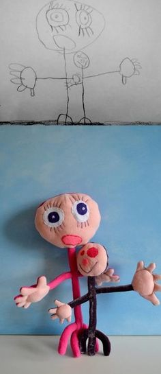This is too cute. Send your kids drawing and they make a toy just like it! What kid would not love that?