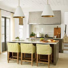 Coastal Living Ultimate Beach House 2012 | Rosemary Beach | Kitchen | Designer: Urban Grace Interiors | Goodman Hanging Lights