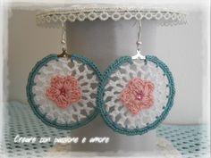 Orecchini ad uncinetto by https://www.facebook.com/creareconpassioneeamore/ … #crochet #handmade #earrings #jewelry #lemaddine
