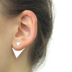 Geometric Triangle Two Way Sterling Silver Ear Jackets. £29.75