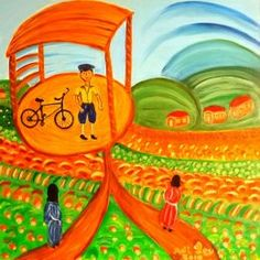 Adi Lev - Two ways to Go Naive Art, Artist Gallery, Artist Painting, Galleries, Israel, Folk Art, Paintings, Artists, Abstract