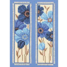 Blue Blossoms Bookmarks - counted cross-stitch :: More beautiful flowers in a small package. =)