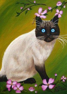 SALE-Cat-ACEO-Giclee-Print-CAT-Kitten-Dogwood-Flower-Painting-Miniature-Art