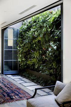 Vertical Green Wall, Vertical Garden Plants, Vertical Gardens, Atrium Garden, Garden Doors, Landscape Design, Garden Design, Courtyard Design, Retaining Wall Design