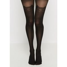 Black Kitty Illusion Tights ❤ liked on Polyvore featuring intimates, hosiery and tights