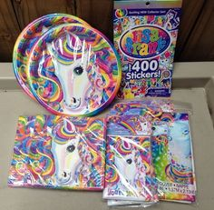 Lisa Frank Rainbow Majesty Birthday Party Pkg Horse Plates Napkins Invitations #Party #BirthdayChild