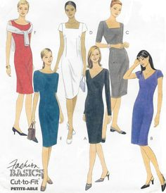 90s Womens Sheath Dress with Neckline Variations by CloesCloset