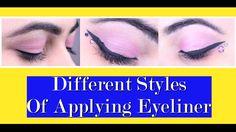 Different Styles Of Applying Eyeliner Makeup Tutorial Eyeliner, Eye Makeup Tips, Makeup Stuff, Makeup Tutorials, Applying Eyeliner, How To Apply Eyeliner, Hormonal Acne Remedies, Hair Hacks, Hair Tips