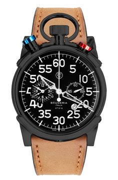 Free shipping and returns on CT Scuderia 'Corsa' Chronograph Leather Strap Watch, 44mm at Nordstrom.com. Bold colors define the eye-catching top crowns found on a luxe Swiss-made chronograph watch encased in scratch-resistant sapphire crystal andset on a smooth leather strap.