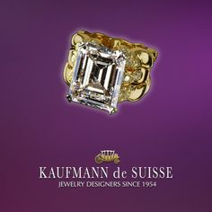 Emerald Cut Diamond from the Flowing Lines Collection at Kaufmann de Suisse in Palm Beach. Diamond Rings, Diamond Jewelry, Jewelry Rings, Jewelery, Gemstone Rings, Fine Jewelry, Palm Beach Florida, Jewelry Showcases, Custom Jewelry Design