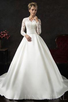 Modest A Line Queen Ann Long Sleeves Wedding Dress