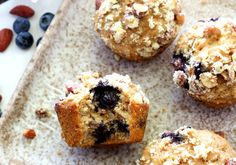 Whole grain blueberry banana muffins filled with plump juicy ...