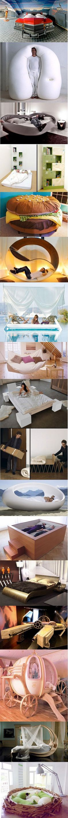 Unique Bed Designs. You can bet your first born child I will have all of these if I ever win the lottery lol
