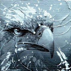 Peinture moderne d'une tête d'aigle 20x20cm