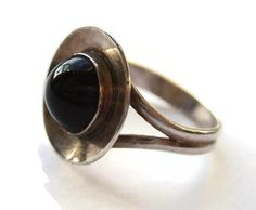 SOLD. Vintage Danish modernist ring, black onyx and sterling silver, Denmark silver, 1960s, mid century jewellery, Scandinavian jewelry. https://www.etsy.com/transaction/1010872000