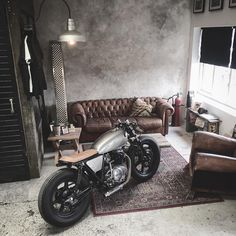 Perfect place for the bike. via @relicmotorcycles #caferacer