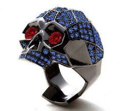 3.90 CT Rd Blue Sapphire & Red Garnet Black Gold Fn .925 Silver Men's Skull Ring #aonebianco #Skull