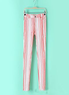 Fashion stripes casual pants, red & white bars, special!