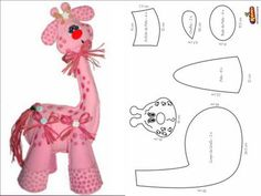 ARTE COM QUIANE - Paps,Moldes,E.V.A,Feltro,Costuras,Fofuchas 3D: molde girafa rosa_eva