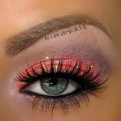 bright with glitter eye makeup