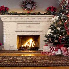 7819 White Fireplace Christmas Backdrop