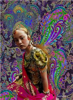 Peacock feathers and paisleys.  Artist: Romany Soup