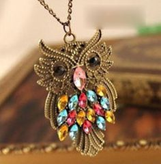 OWL Necklace Crystal Mutli Color Bronze 25 Inches NWT #Chain