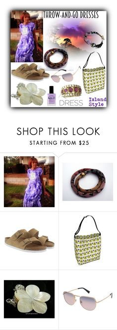 """""""Throw-and-Go Dresses"""" by sylvia-cameojewels ❤ liked on Polyvore featuring Birkenstock, Valentino and INDIE HAIR"""