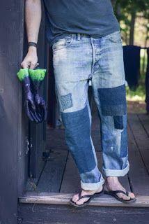 denim Haha, these look like Pat's jeans Mode Masculine, Fashion Jeans, Estilo Jeans, Diy Vetement, Patchwork Jeans, Denim Ideas, Patched Jeans, Vintage Denim, Vintage Style