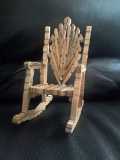 Items similar to Feather Rocking Chair on Etsy Not very easy to make but have had a lot of compliments on it and I think it's beautiful. If only a grow ray gun existed! Clothespin Cross, Wooden Clothespin Crafts, Wooden Clothespins, Wooden Pegs, Popsicle Stick Crafts, Popsicle Sticks, Craft Stick Crafts, Easy Crafts, Fairy Furniture