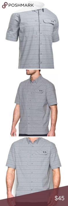 Under Armour Fish Hunter Stripe Pattern Over Shirt Under Armour UA Fish Hunter Men's Stripe Pattern Overcast Gray Shirt  Product DNA 	•Loose: Fuller cut for complete comfort. 	•Light & fast, built from incredibly stretchy, breathable woven fabric 	•UPF 50+ protects your skin from the sun's harmful rays 	•Stain release materials keep blood, guts & dirt from soaking in 	•Material wicks sweat & dries really fast 	•Anti-odor technology prevents the growth of odor-causing microbes…