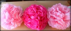 Martha Stewart by way of Walmart Mom, Amy Clark, shows us how to make lovely paper pom poms that are superb for party decorations, or to adorn your child's bedroom or playroom.  Using tissue paper and floral wire, cut and twist and voilà, you've got a poof!