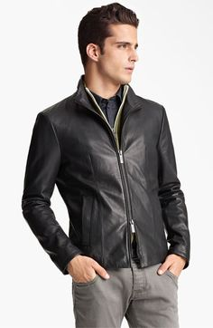 Like the Jacket, it just doesn't seem to go with the pants though - Armani Collezioni Perforated Leather Jacket | Nordstrom