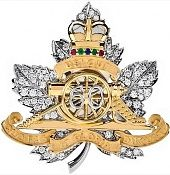Canadian Regiment Brooch, by Birks, commissioned by the Royal Regiment of Canadian Artillery, of which the Queen is Captain General — a position she took on when she ascended the throne. The regiment said the brooch is encrusted with 60 diamonds to mark the Queen's 60th anniversary of her time on the throne. Inspired by the regiment's cap badge, which was designed in 1907.