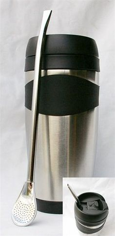 Executive Stainless Steel Tumbler with Rubber Grip 19.5oz and Bombilla by Simonaggio Bombilla. $35.95. This is a must have for the traveler or office. Super large mug 19.5oz, Stainless inside and out. Includes Bombilla. Use with or without the bombilla. Works great hot or cold.  Free Sample Bag of Yerba Mate comes with this offer.