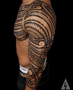 polynesian-tribal-sleeve-tattoo.jpg (473×587)