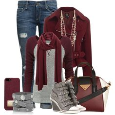Women's Winter Fashion - Burgundy