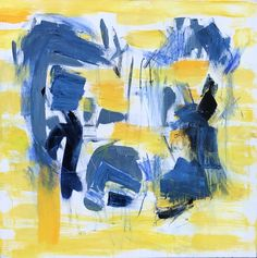 """Black And Blue is a 36"""" x 36"""" painting in acrylic on canvas. It is composed of yellows and blues, inspired by another artist's work of a similar palette. The blacks and blues resonate with the harm caused by police against people of color in our country. The more powerful blues represent the authority held by police officers (referred to as """"men in blue"""") in our society, and the conflict illustrates the issues brought to light by protests across the nation. Artist At Work, Inspiration, Illustration, Canvas, Painting, Abstract Artwork, Art, Color"""