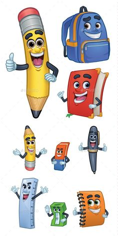 Buy Cartoon Character School Stationery by bayuprahara on GraphicRiver. Back To School Art, School Fun, School Bags, Back To School Clipart, Drawing Games For Kids, Easy Drawings For Kids, Cartoon Books, Cartoon Characters, Pin Up Drawings
