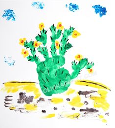 handprint cactus craft.  Perfect for our Wild Adventures in Texas week at Camp Doublecreek!