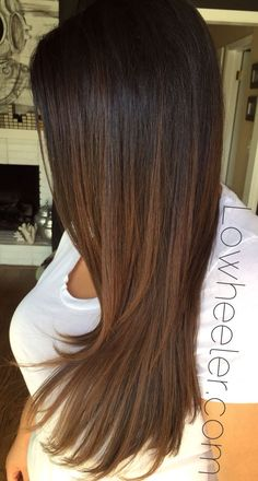 nice Chocolate brown Balayage ombré colormelt by Lo Wheeler. Lowheeler.com Instagram...